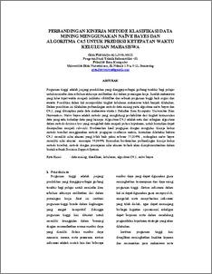 Perbandingan Kinerja Metode Klasifikasi Data Mining Menggunakan Naive Bayes Dan Algoritma C4 5 Untuk Prediksi Ketepatan Waktu Kelulusan Mahasiswa Udinus Repository