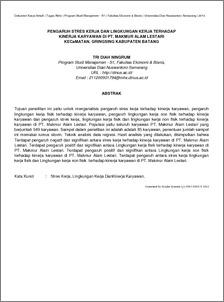 Pengaruh Stres Kerja Dan Lingkungan Kerja Terhadap Kinerja Karyawan Di Pt Makmur Alam Lestari Kecamatan Gringsing Kabupaten Batang Udinus Repository
