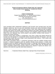 Jurnal pengaruh lingkungan kerja fisik terhadap kinerja karyawan